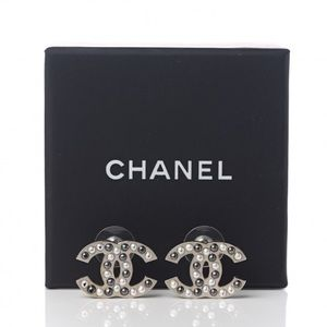 Chanel Faux Pearl CC Silver Earrings